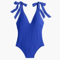 Shoulder-tie one-piece swimsuit