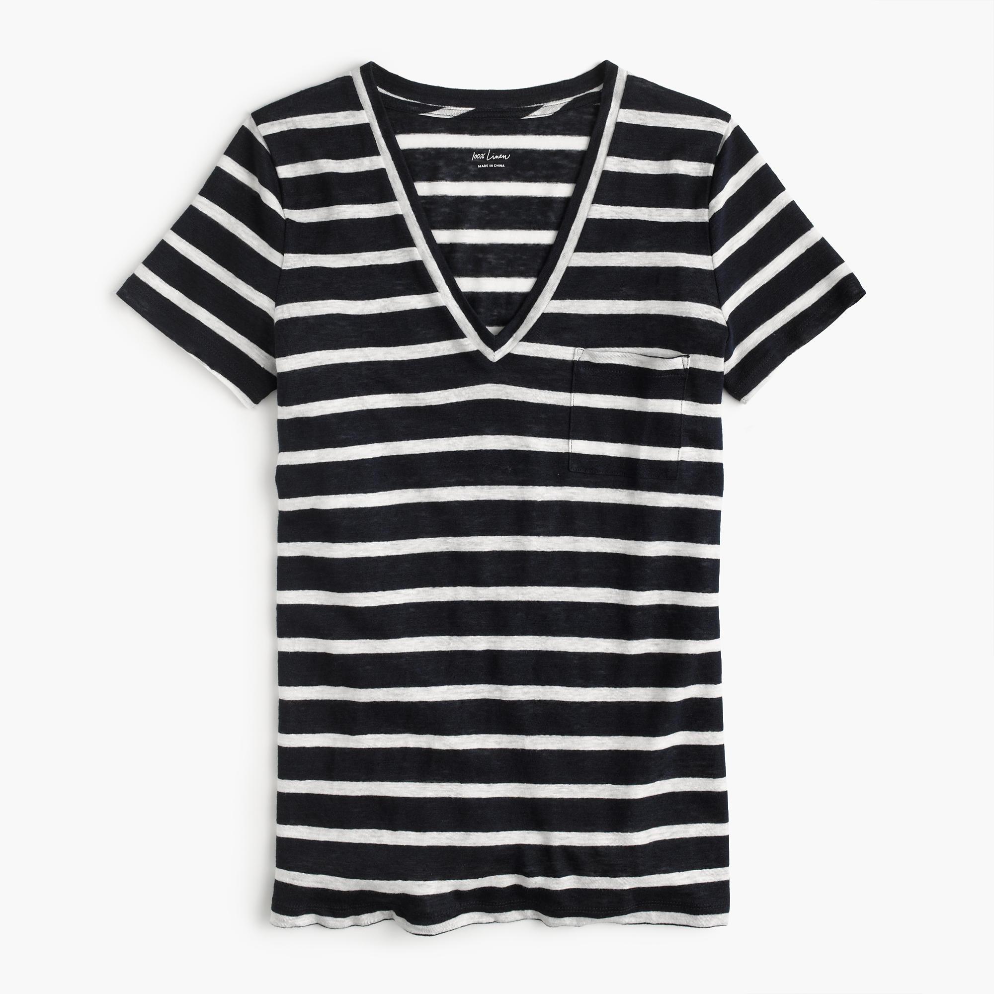 Linen V-Neck Pocket T-Shirt in Stripe : Women's Tees ...