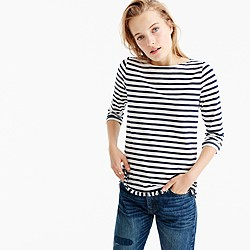 Striped boatneck T-shirt with fringe