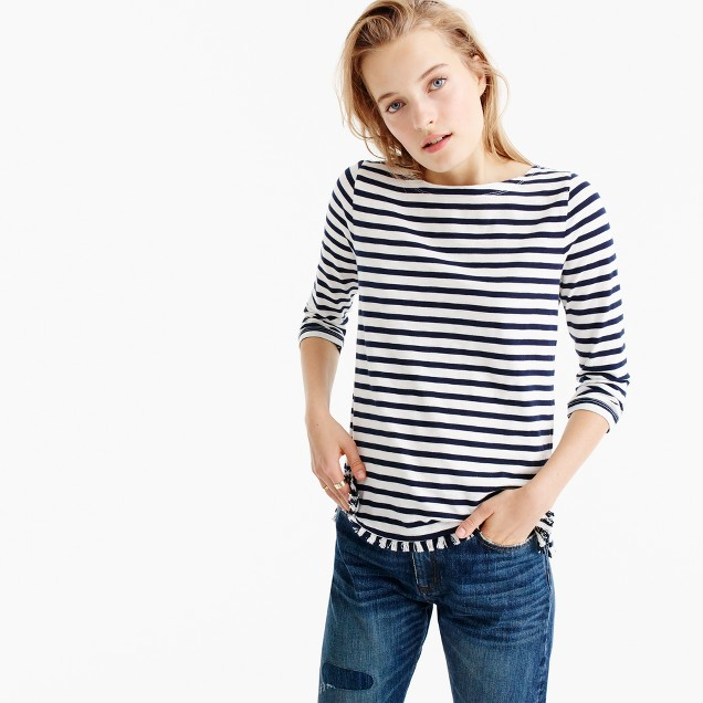 Striped boatneck T-shirt with fringe