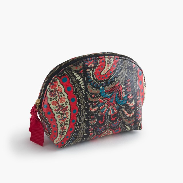 Paisley coated canvas makeup pouch