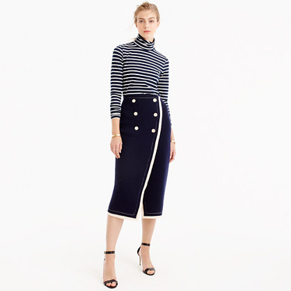 Collection nautical wrap sweater-skirt