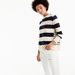 Italian cashmere mixed-stripe crewneck sweater