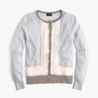 Italian featherweight cashmere fringe cardigan sweater