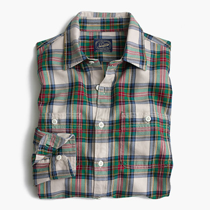 Midweight flannel shirt in white and green plaid