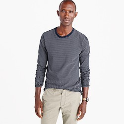 Wallace & Barnes long-sleeve T-shirt in indigo microstripe