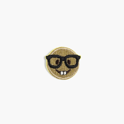 Kids' nerd emoji iron-on critter patch