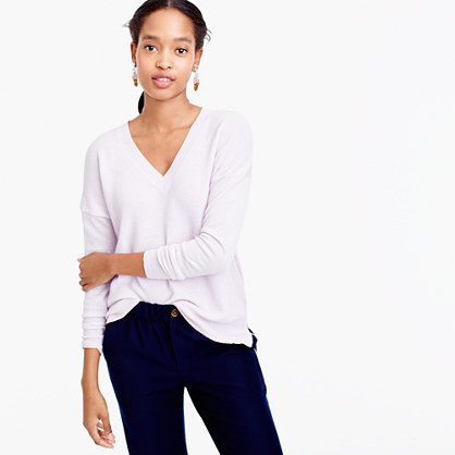 V-neck sweater in cotton-merino wool
