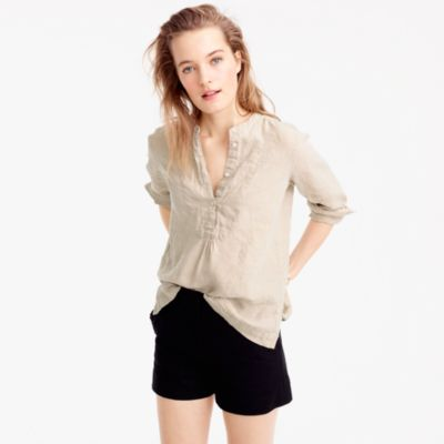 Petite popover shirt in Irish linen