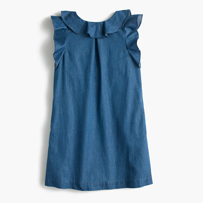 Girls' chambray ruffle dress
