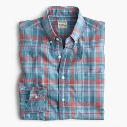 Slim Secret Wash shirt in heather poplin red-and-blue plaid