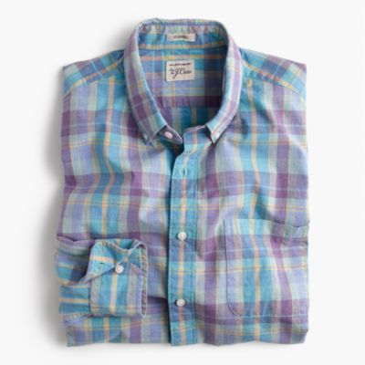 Tall Secret Wash shirt in heather poplin plaid