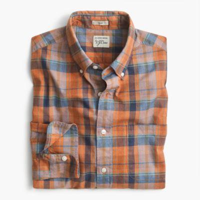 Slim Secret Wash shirt in heather poplin plaid