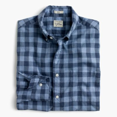 Tall Secret Wash shirt in heather poplin blue plaid