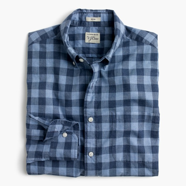 Secret Wash shirt in heather poplin blue plaid