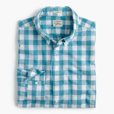 Slim Secret Wash shirt in heather poplin blue plaid