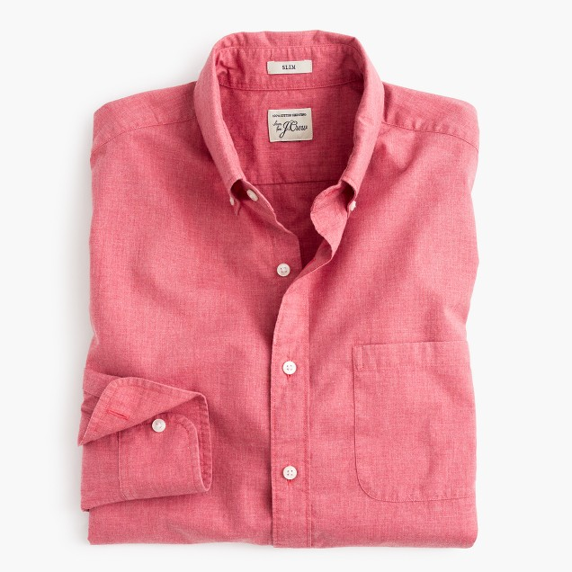 Slim Secret Wash shirt in heather poplin