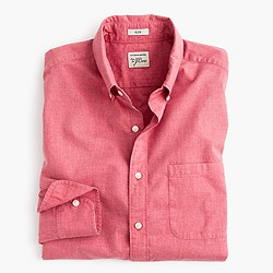 Slim Secret Wash shirt in red heather poplin
