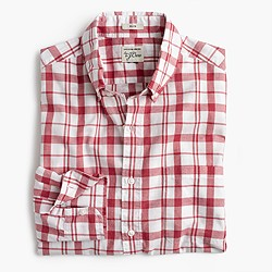 Slim Secret Wash shirt in heather poplin red-and-white plaid