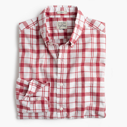 Tall Secret Wash shirt in heather poplin red-and-white plaid