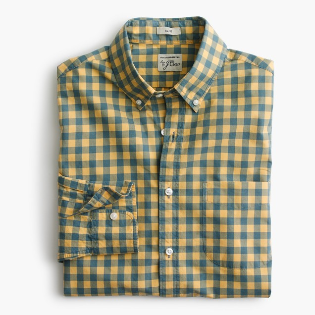Slim secret wash shirt in yellow and blue gingham j crew for Mens yellow gingham shirt
