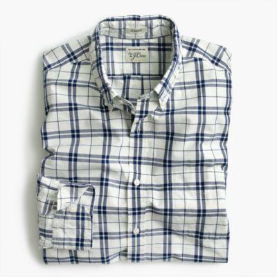 Tall Secret Wash shirt in indigo check