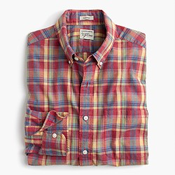 Slim Secret Wash shirt in heather poplin red-and-yellow plaid