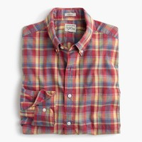 Secret Wash shirt in heather poplin red-and-yellow plaid