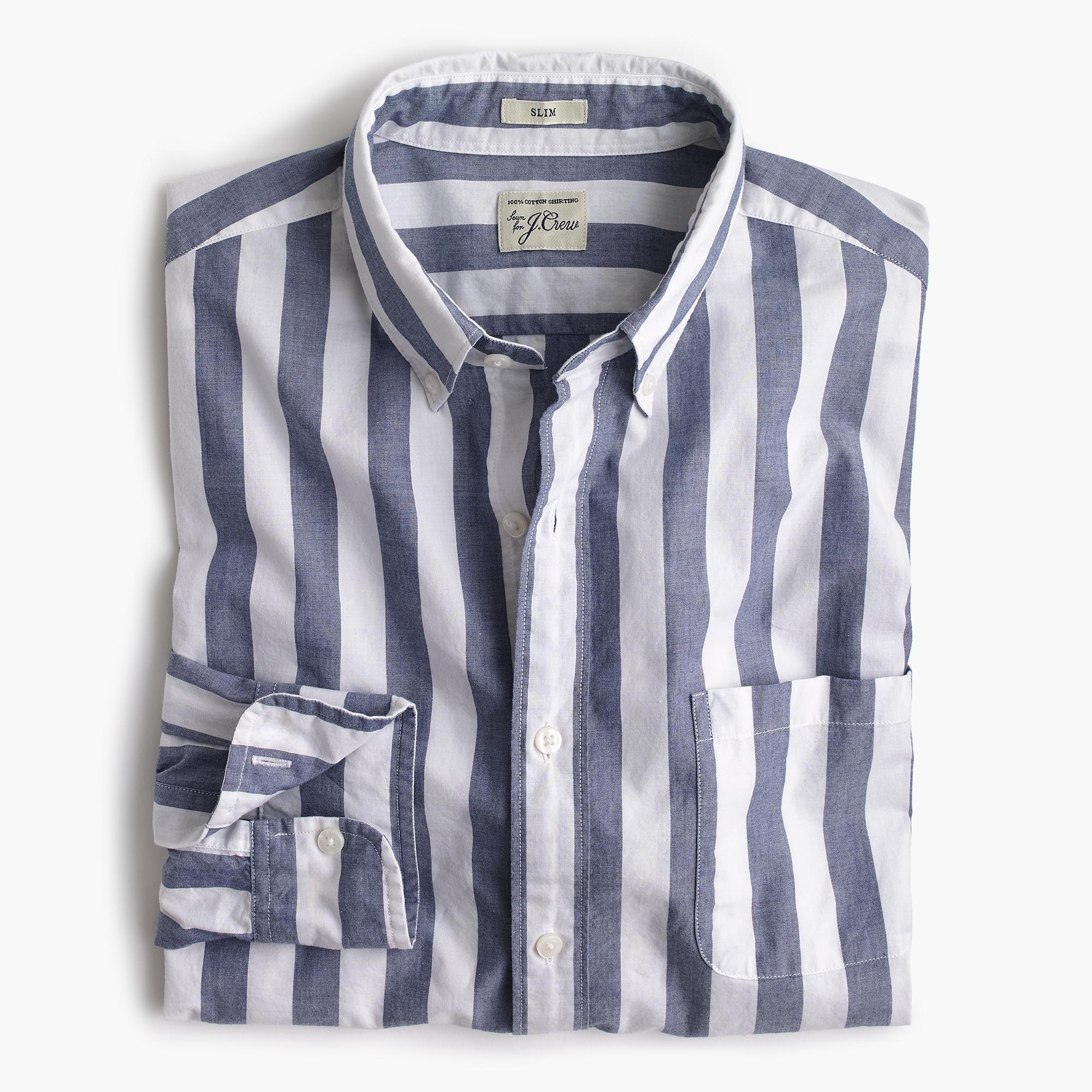 Slim Secret Wash Shirt In Striped Heather Poplin Men
