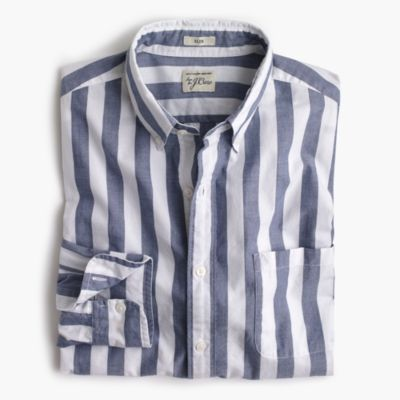 Slim Secret Wash shirt in striped heather poplin