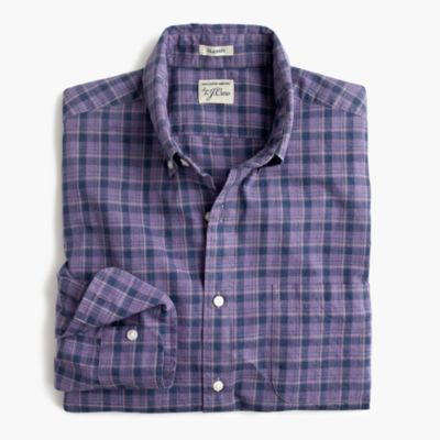 Slim Secret Wash shirt in heather poplin purple plaid