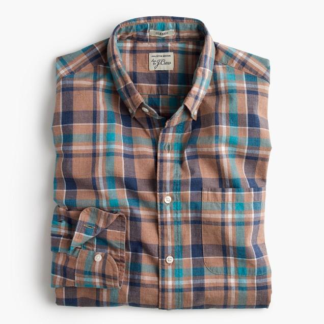 Secret Wash shirt in khaki plaid