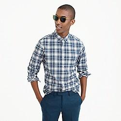 Slim lightweight oxford in blue check