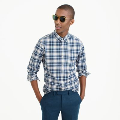 Slim lightweight oxford in blue check