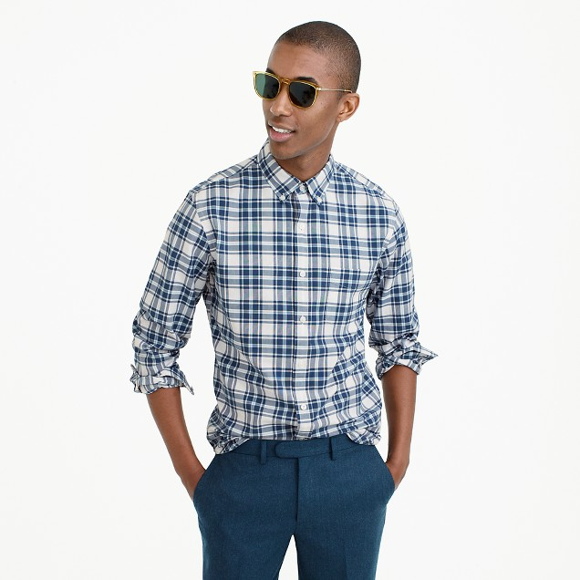 Tall lightweight oxford in blue check