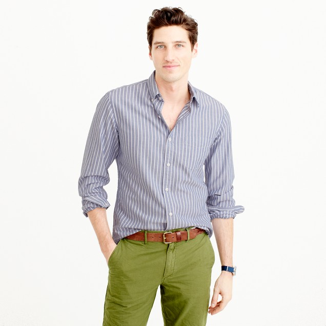 Slim lightweight oxford shirt in wide stripe