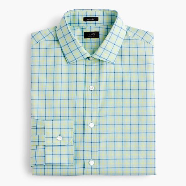 Ludlow shirt in green tattersall