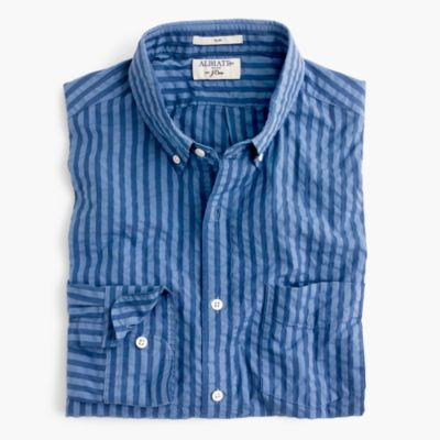 Slim Albiate 1830 for J.Crew washed shirt in indigo seersucker