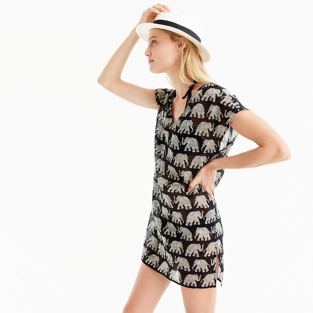 Cotton cover-up in elephant print