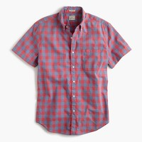 Tall short-sleeve shirt in heather poplin blue gingham