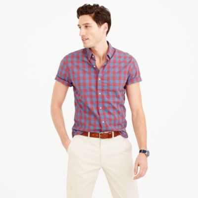 Slim short-sleeve shirt in heather poplin blue gingham