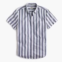 Slim short-sleeve shirt in striped heather poplin