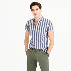 Short-sleeve shirt in striped heather poplin