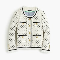 Collection polka-dot lady jacket with ruffle chiffon trim