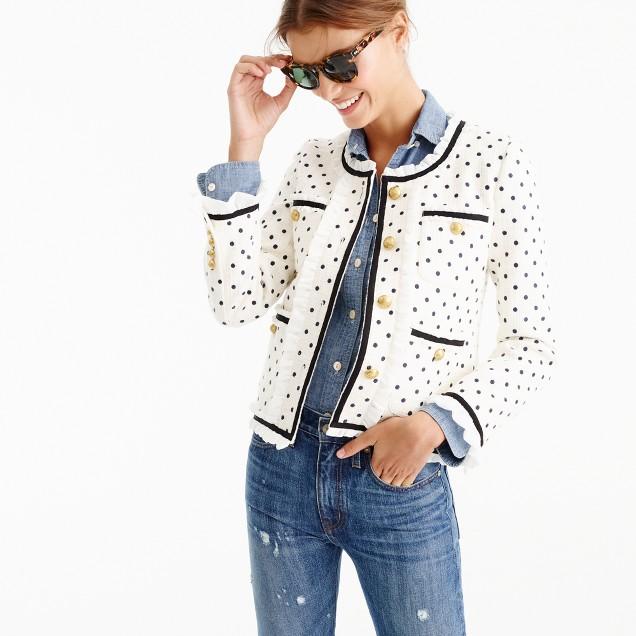 Collection polka-dot lady jacket with ruffle chiffon trim