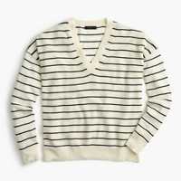 Striped V-neck sweater in merino wool-cotton