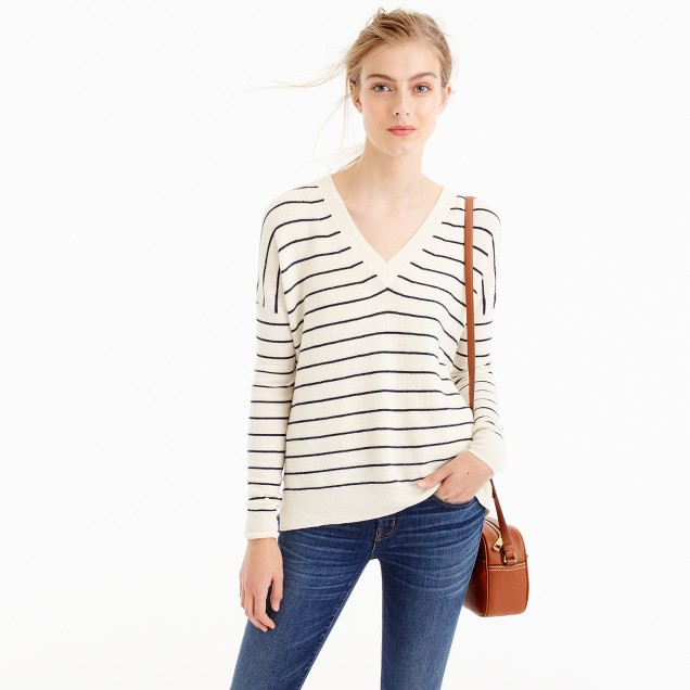 Striped V-neck sweater in cotton-merino wool