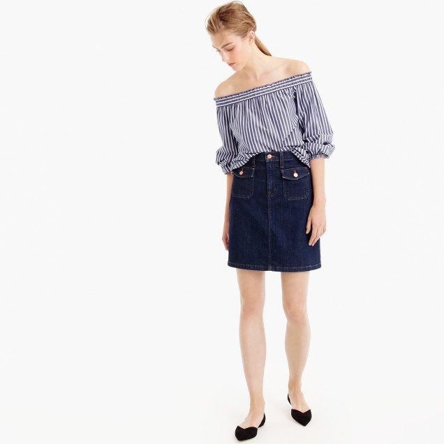 Patch pocket denim skirt in Foxley wash