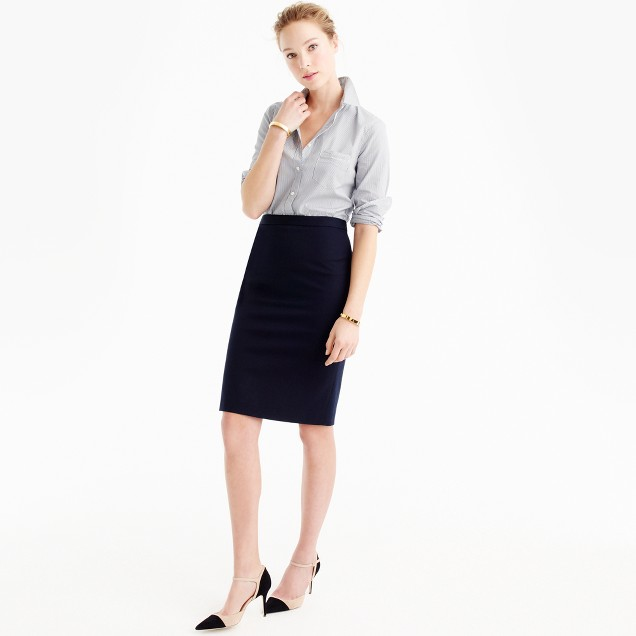 Pencil skirt in bi-stretch cotton