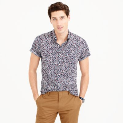 Short-sleeve shirt in floral print